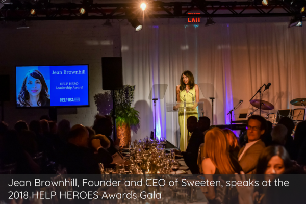 Jean Brownhill, Founder and CEO of Sweeten, speaks at the 2018 HELP HEROES Awards Gala