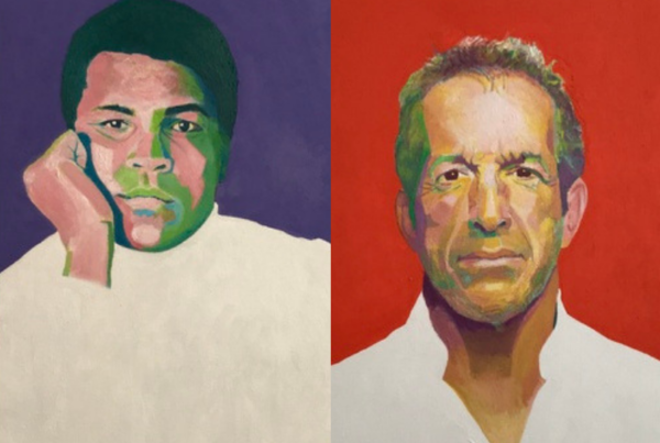 Portraits of Kenneth Cole and Muhammad Ali