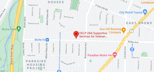 Google Maps screenshot showing the location of HELP USA's SSVF facility at 815 Burke Avenue in the Bronx.