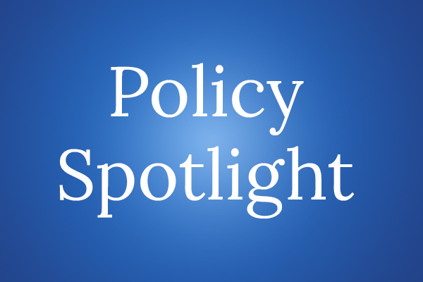White text on a blue background that says Policy Spotlight